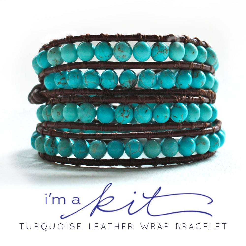 Image of july supply leather wrap bracelet kit - turquoise beads, brown leather