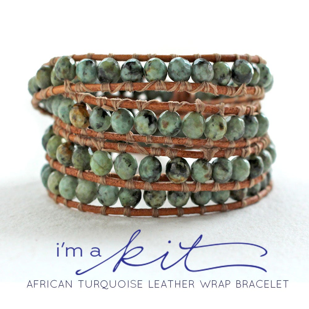 Image of leather wrap bracelet kit, african turquoise beads, brown leather