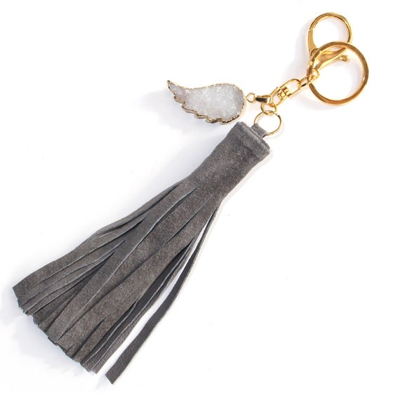 Image of tassel keychain, druzy quartz angel wing, suede leather tassel purse charm