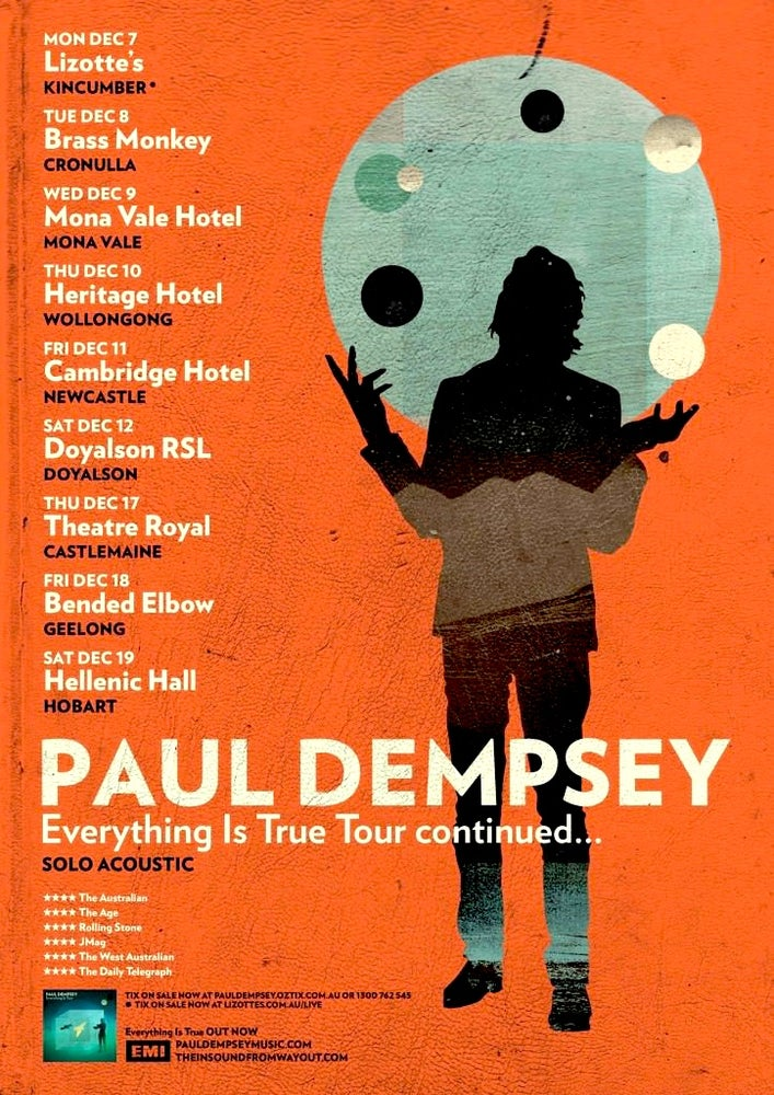 Image of Paul Dempsey - Everything is True Tour poster 2009 Rare - not previously available. Signed/unsigned.