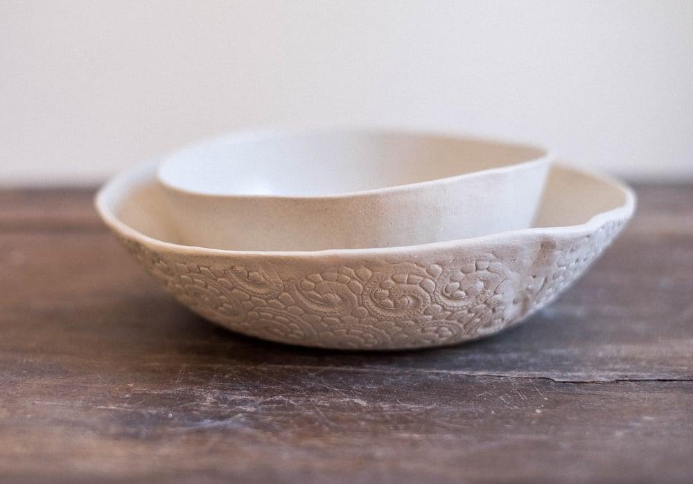 Image of Set desayuno crema liso y textura