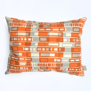 Image of Block Print cushion in orange and grey