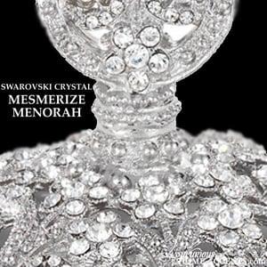 Image of Swarovski Crystal Silver Menorah Mesmerize