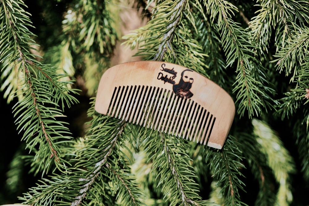 Image of Sunday Dolphin Hand Made Wooden Beard Comb
