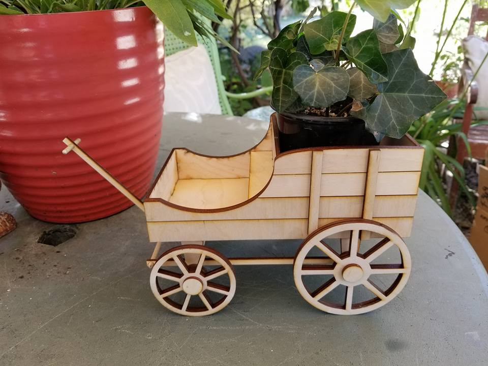 Image of Amish Flower Cart Wood Kit
