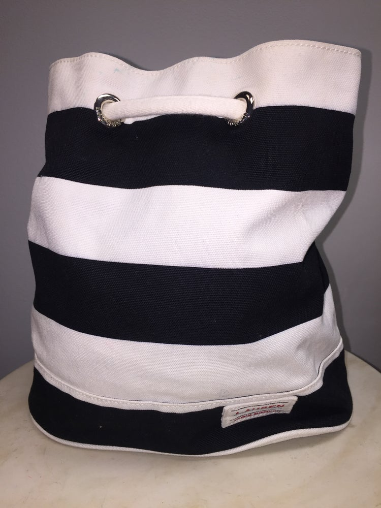 Image of VTG RALPH LAUREN NAUTICAL COTTON CANVAS BUCKET BACKPACK