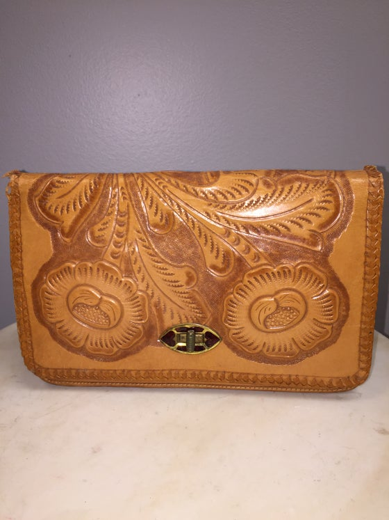 Image of VTG CHISELED LEATHER BOHO BABE CLUTCH BAG
