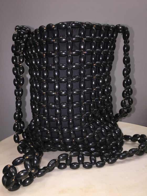 Image of VTG BLACK WOOD BEADED MESSENGER SAC PURSE