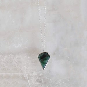 Image of Natural Emerald - mixed shape faceted cut silver necklace