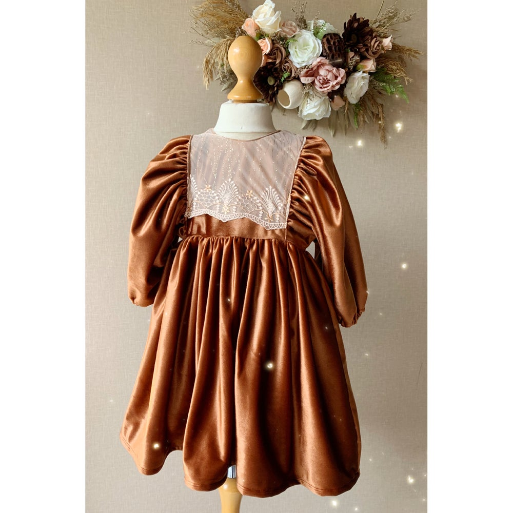 Image of Copper and lace smock dress