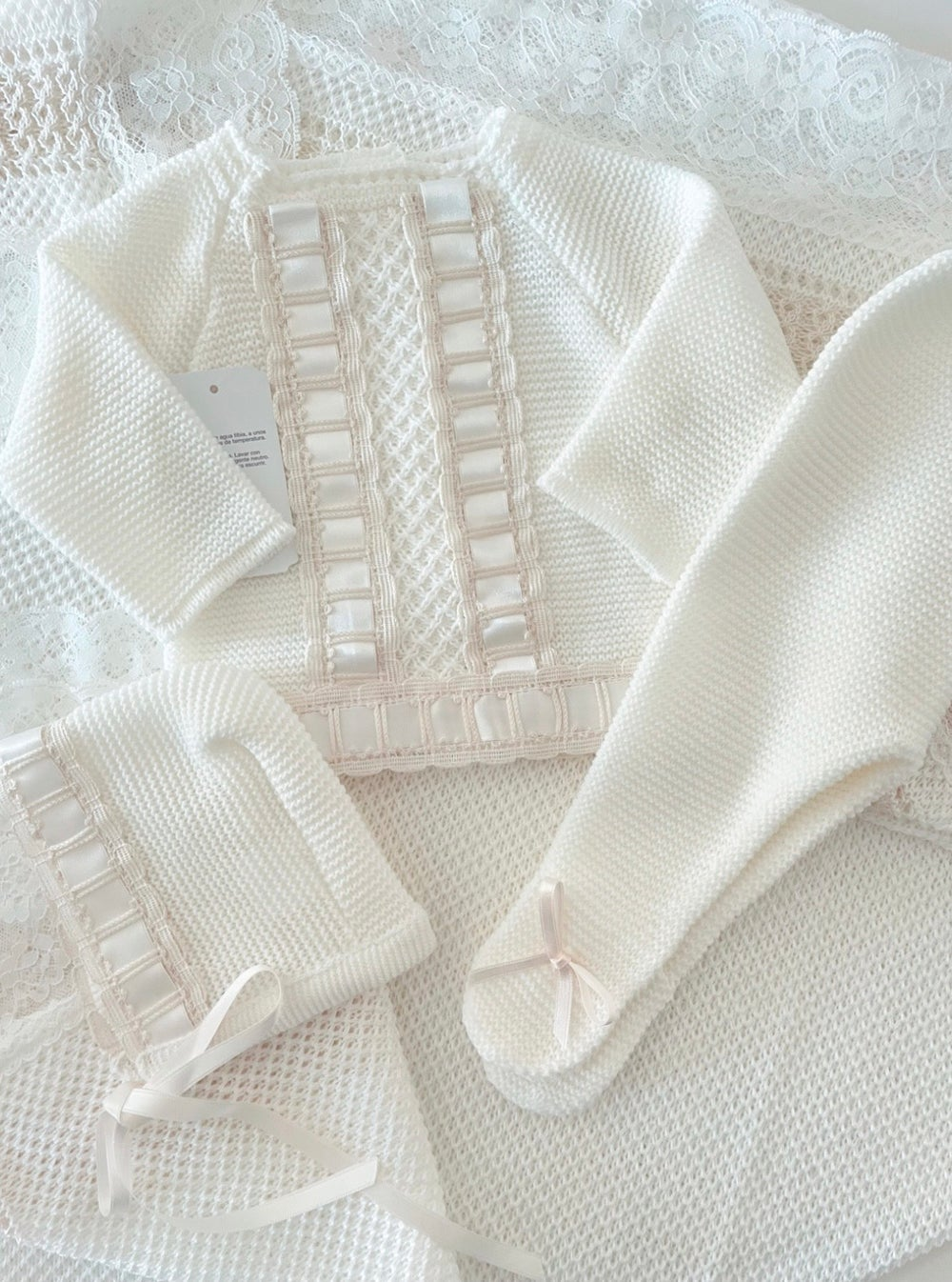 Image of Beige luxury knitted set