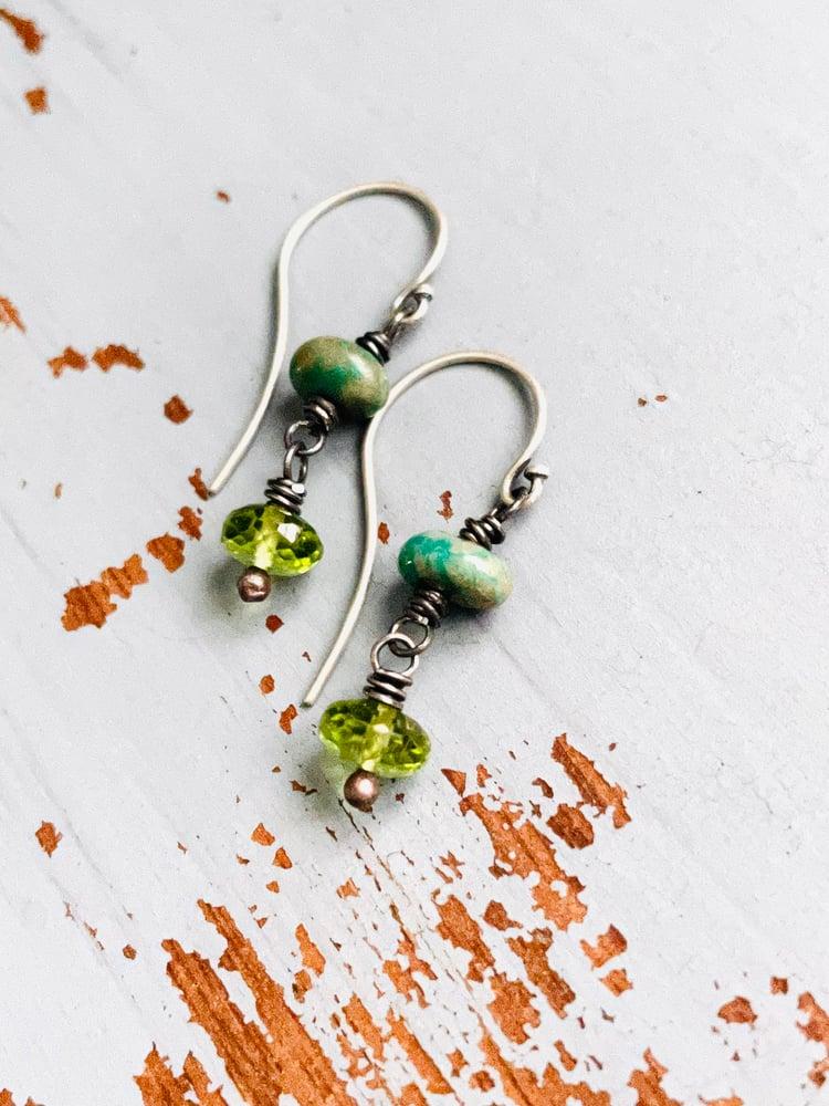 Image of peridot and turquoise dangle earrings