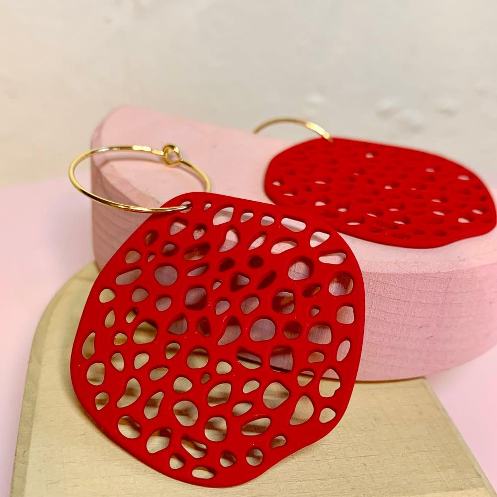 Image of Big Red Pod Earrings