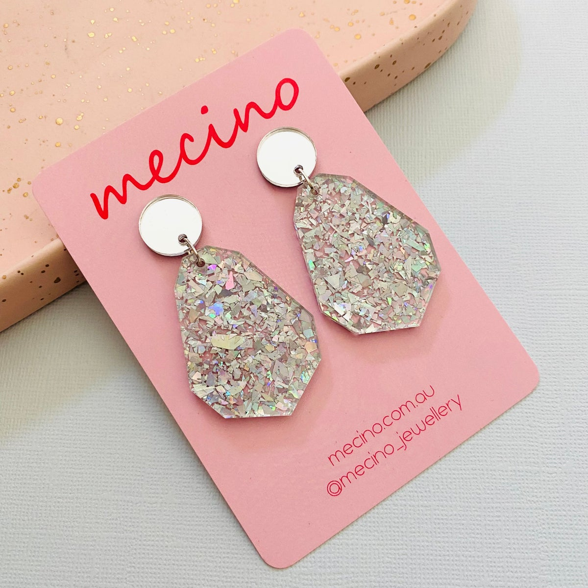 Image of Geo Drops - Iridescent Silver