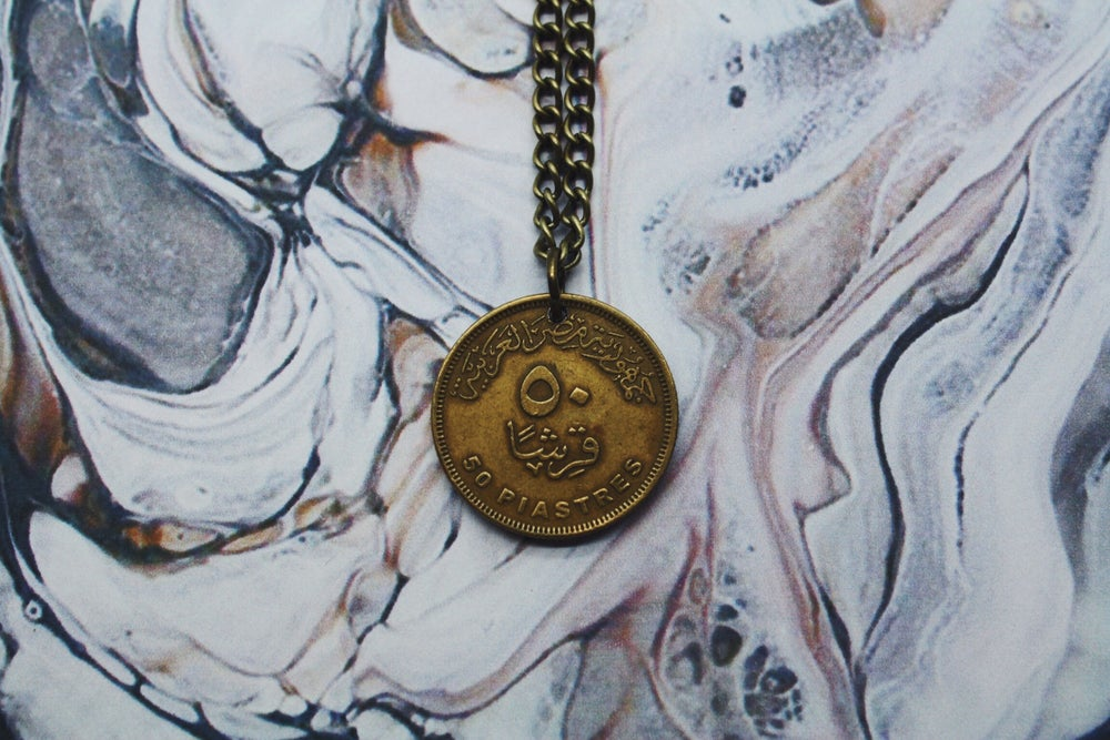 Image of Egyptian Gold 50 Piastre Coin Necklace