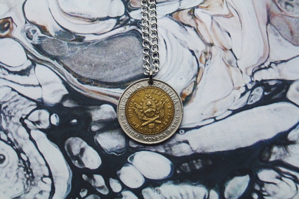 Image of Argentinian Bimetallic 1 Peso Coin Necklace (1994)