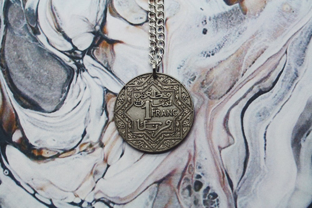 Image of Moroccan Silver 1 Franc Coin Necklace