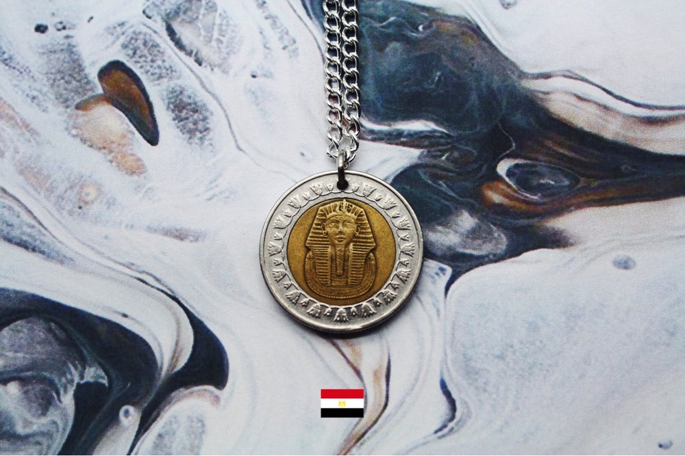 Image of Egyptian Bimetallic 1 Pound Coin Necklace