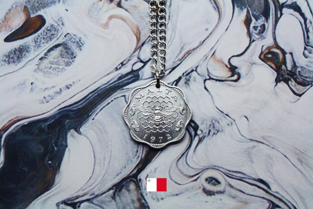 Image of Maltese Silver 3 Mil Coin Necklace