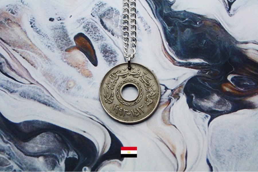 Image of Egyptian Silver 25 Piastre Coin Necklace