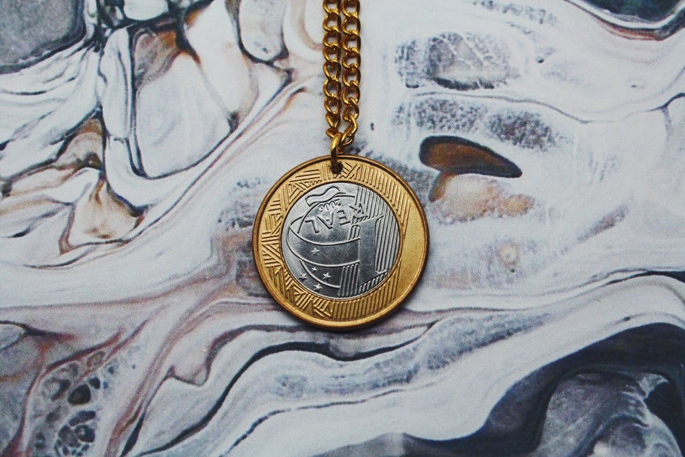 Image of Brazilian Gold 1 Real Coin Necklace