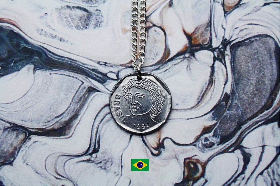 Image of Brazilian Silver 25 Centavos Coin Necklace
