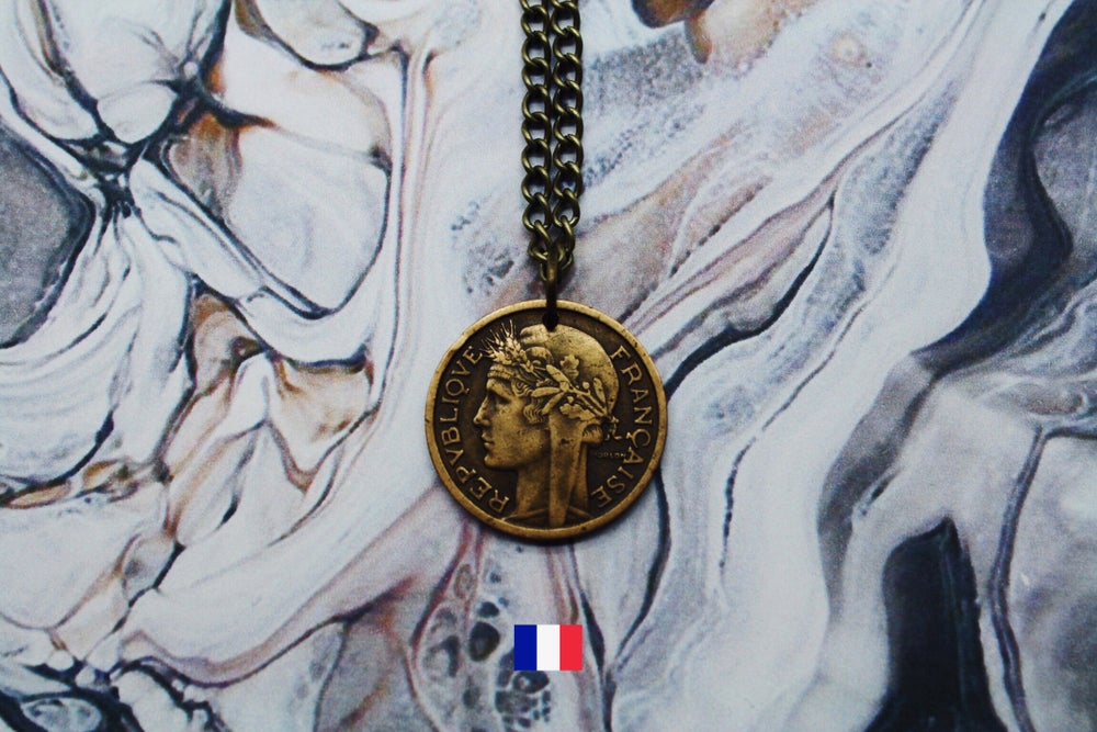 Image of French Gold 1 Franc Coin Necklace