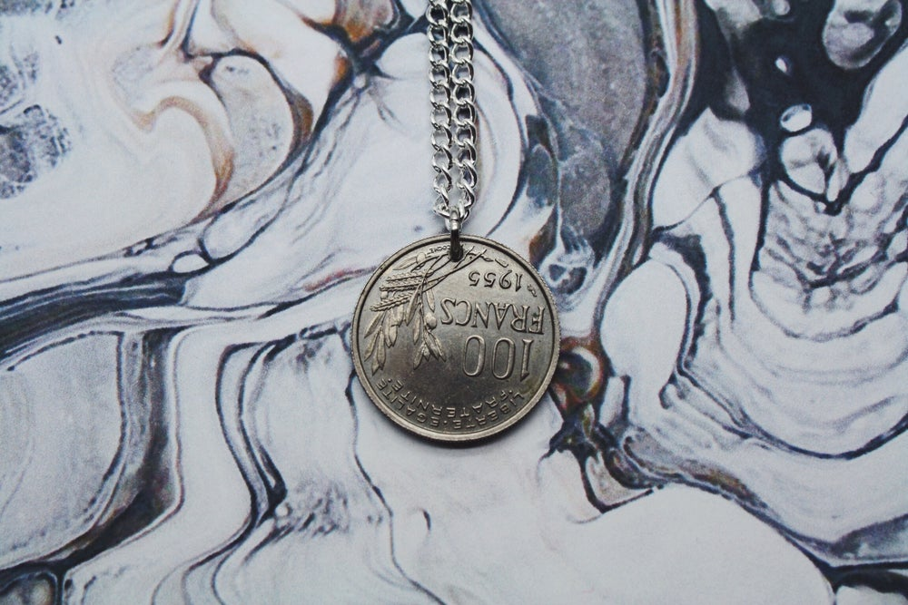 Image of French Silver 100 Francs Coin Necklace