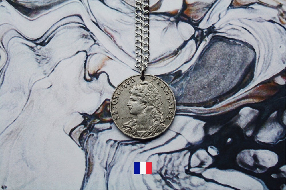 Image of French Silver 25 Centimes Coin Necklace
