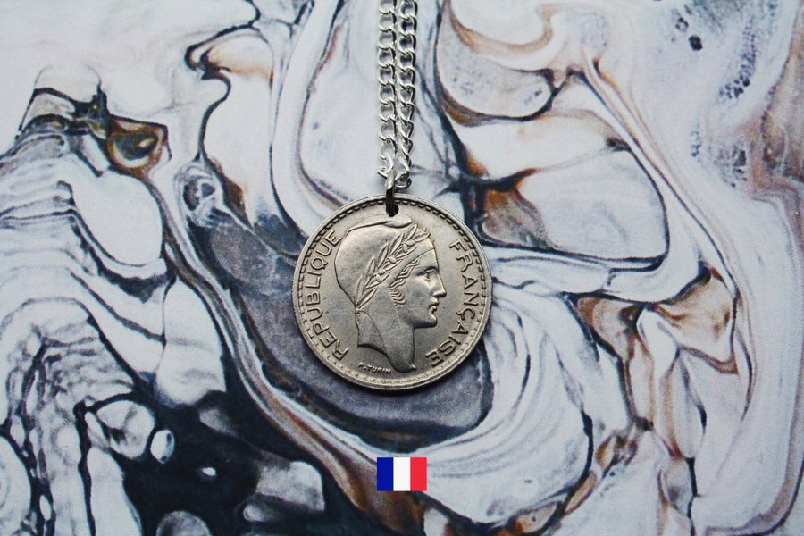 Image of French Silver 10 Francs Coin Necklace