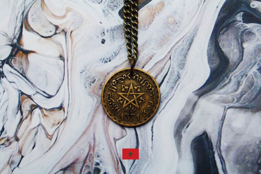 Image of Moroccan Gold 20 Francs Coin Necklace
