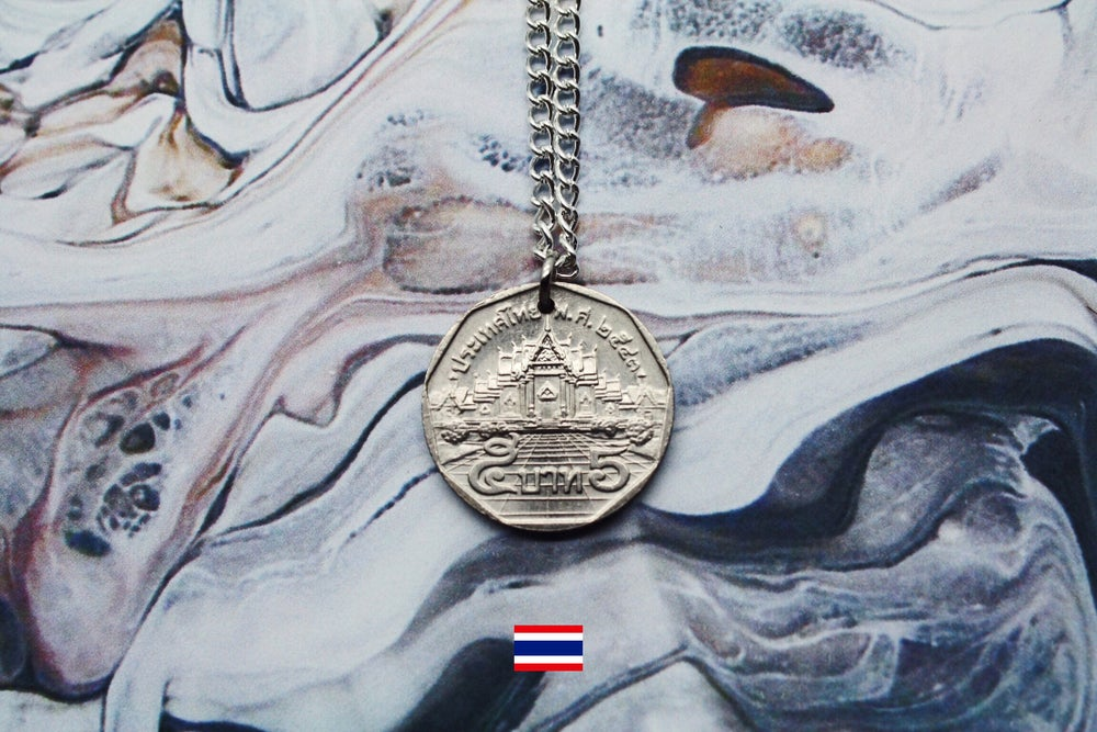 Image of Thai Silver 5 Baht Coin Necklace