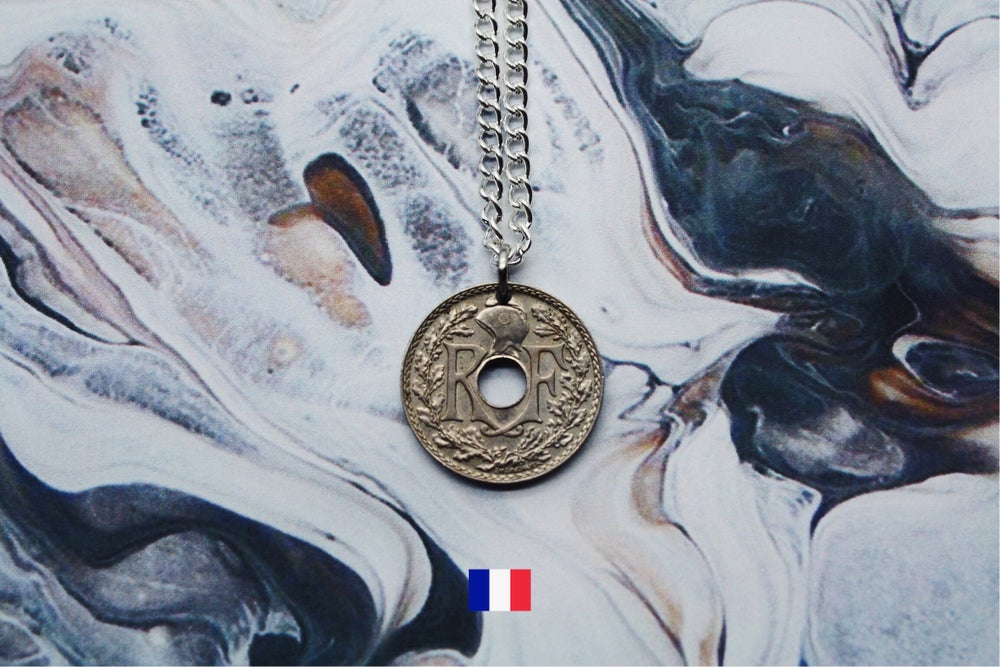Image of French Silver 10 Centimes Coin Necklace