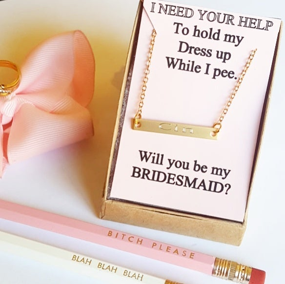 Image of Bridesmaid bar necklace