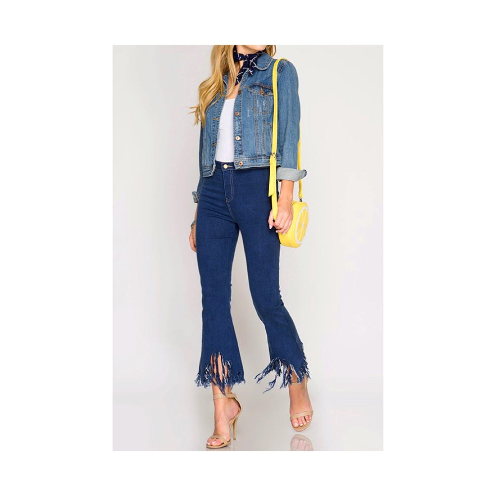 Image of Fringed Hem Denim Pants
