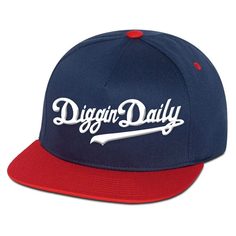 Image of DIGGINDAILY FULL LOGO NAVY+RED SNAPBACK