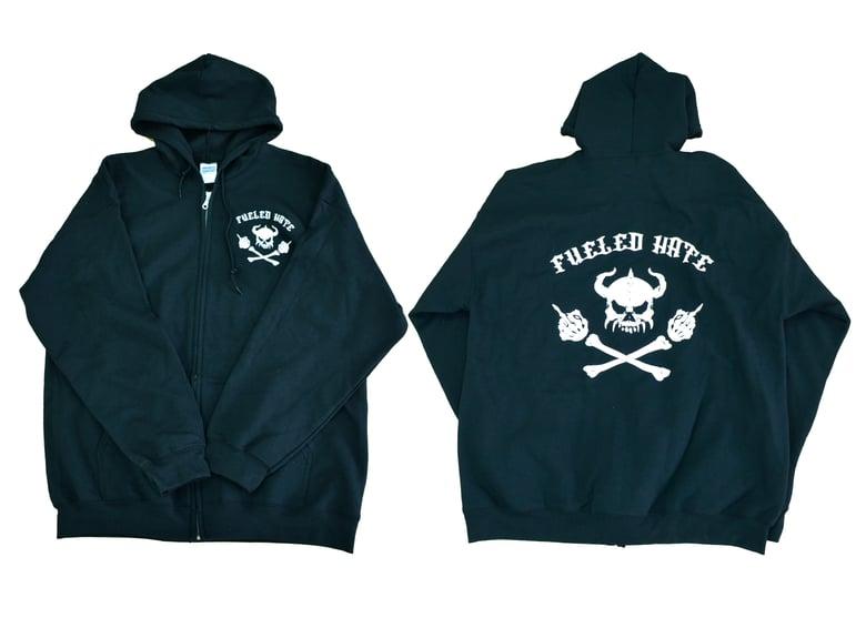 Image of Fueled Hate Logo Skull Zip Hoodie