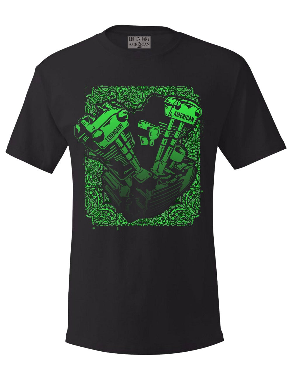 Image of Legendary American Knucklehead tee - green print