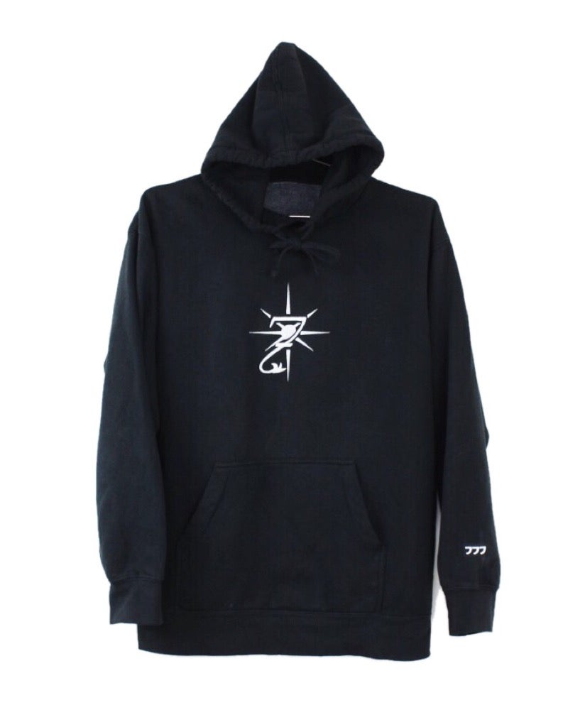 "Image of ""3STACKS"" EMBROIDERED HOODIE - BLACK"