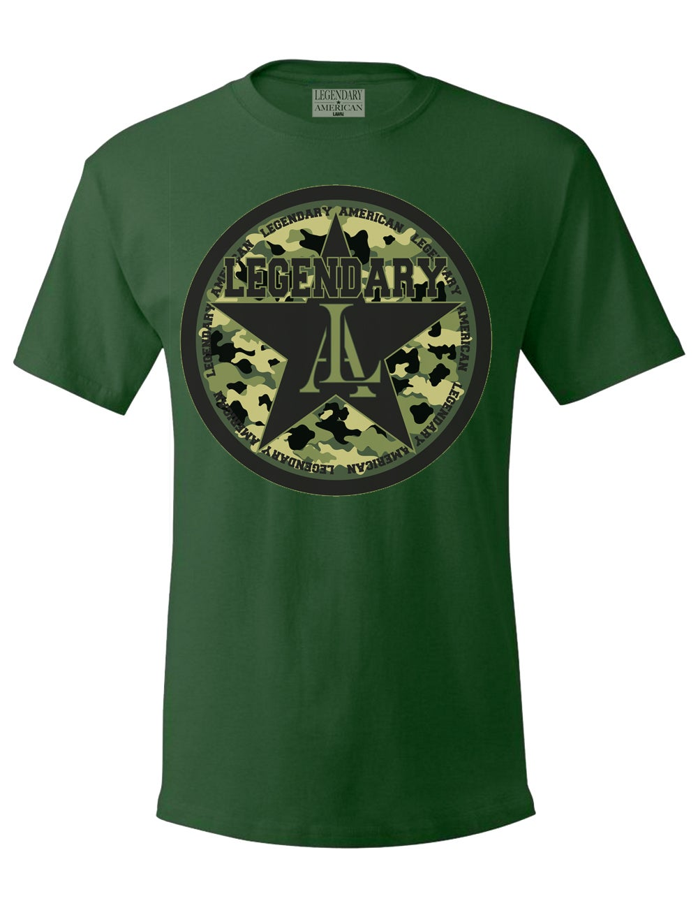 Image of Legendary American All Star camo tee in military green