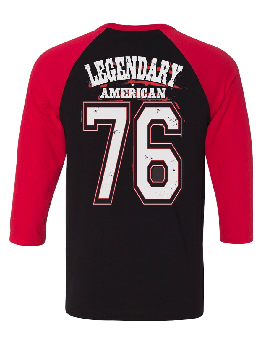 Image of Legendary American 76 team raglan black and red
