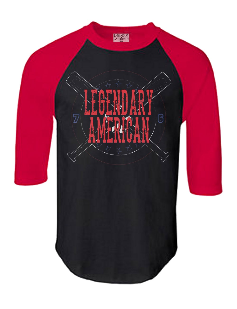 Image of Legendary American Baseball raglan black and red