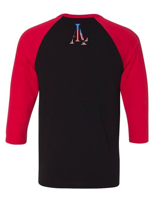 Image of Legendary American Baseball raglan black and red