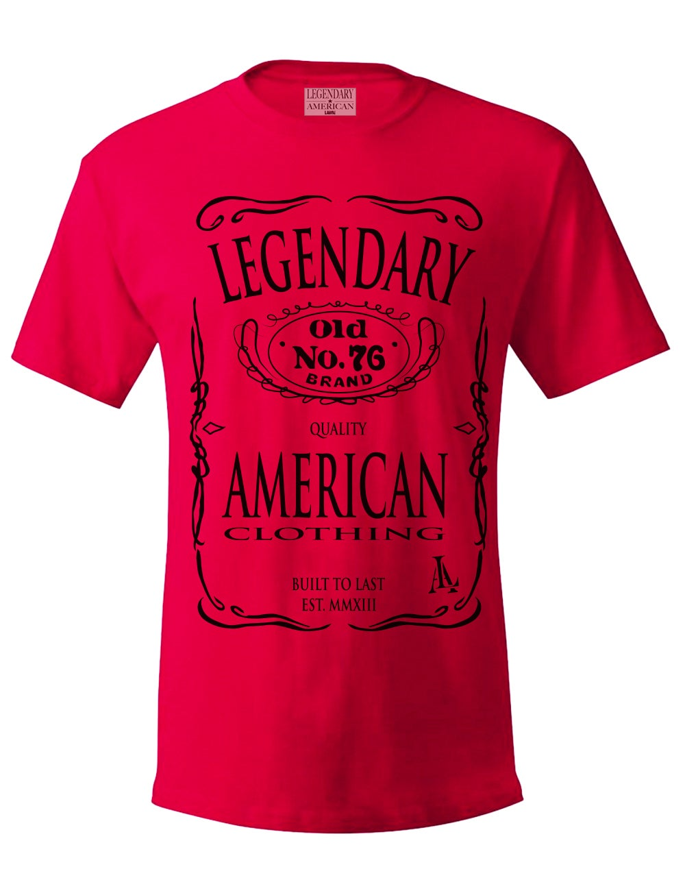 Image of Legendary American Old No. 76 tee in red