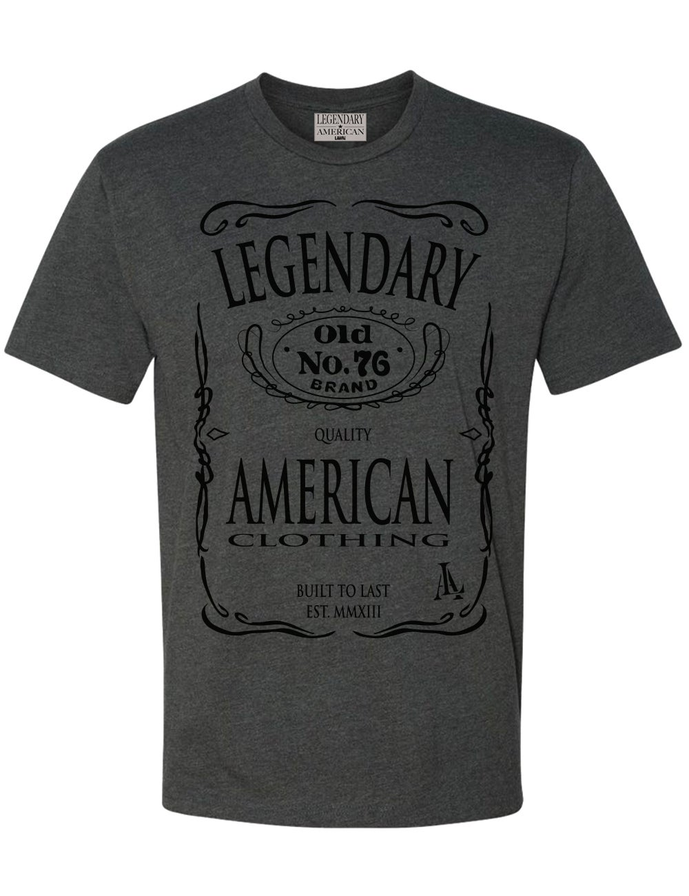 Image of Legendary American Old No. 76 tee in charcoal heather