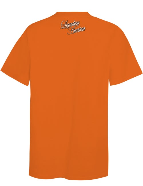 Image of Legendary American Script 3 tee in orange