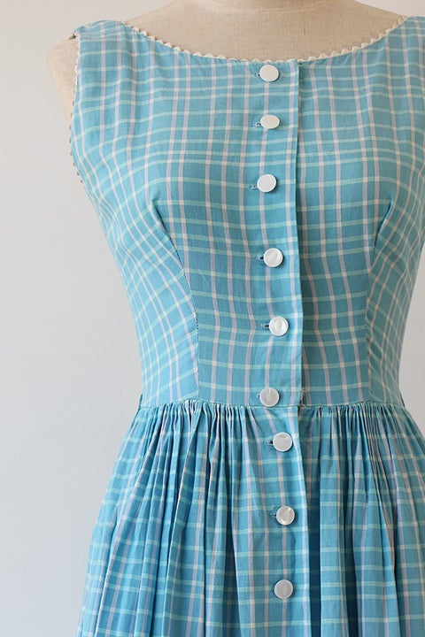 Image of SOLD Lanz Original Plaid Ricrac Dress