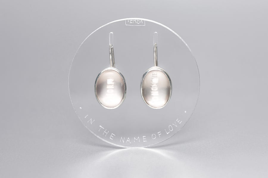 Image of silver earrings with rose quartzes IN NOMINE AMORIS