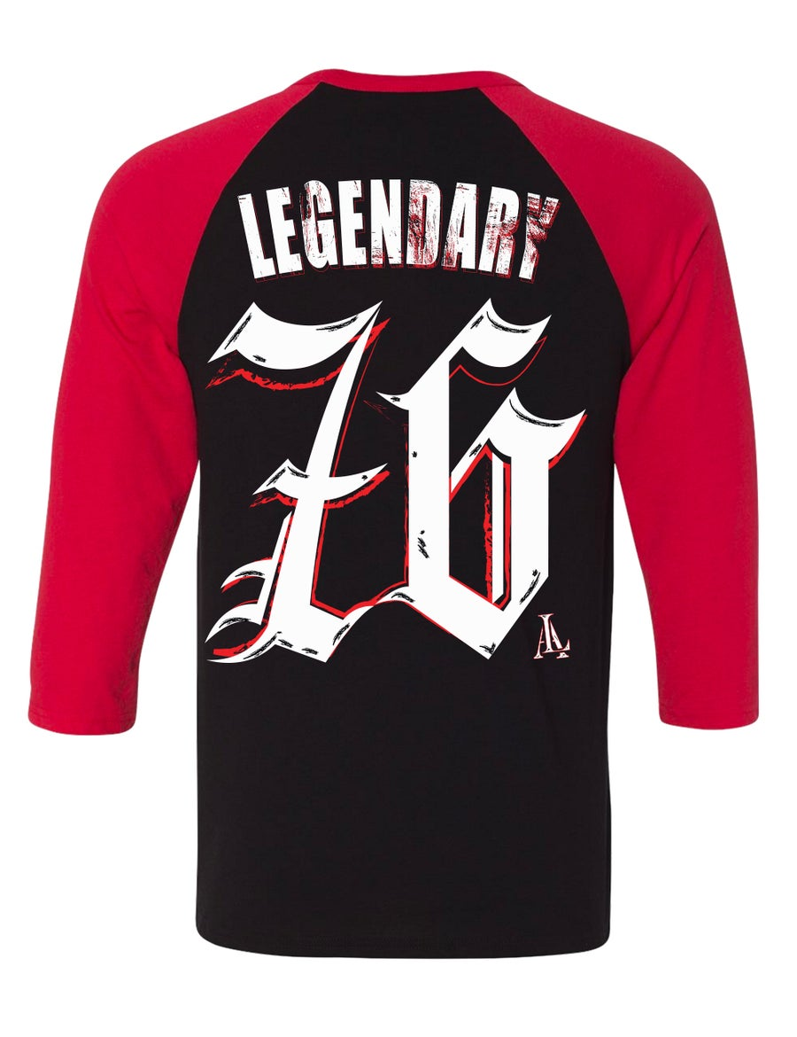 Image of Legendary American 76 raglan black and red