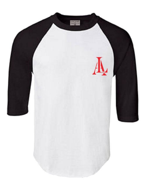 Image of Legendary American 76 raglan white and black